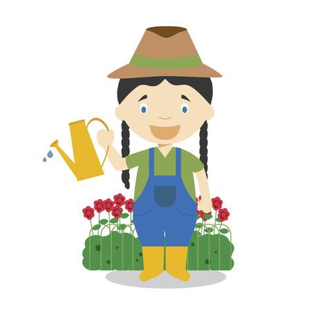 Cute cartoon vector illustration of a gardener. Women Professions Series Banque d'images - 126826254
