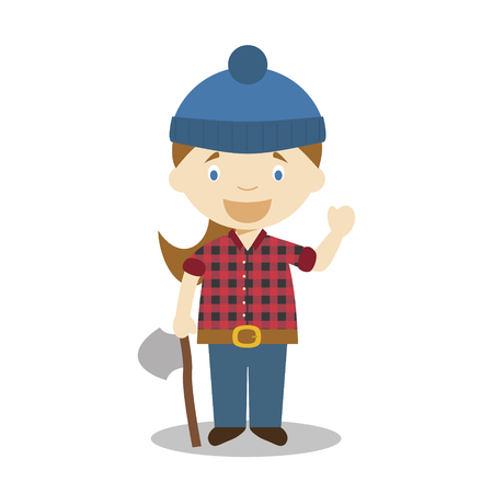 Cute cartoon vector illustration of a lumberjack. Women Professions Series Banque d'images - 126826258