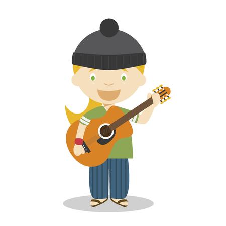 Cute cartoon vector illustration of a musician. Women Professions Series