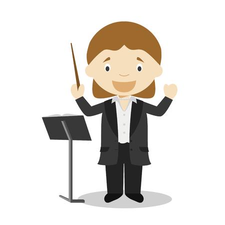 Illustration vectorielle de dessin animé mignon d'un directeur d'orchestre. Série Métiers des Femmes Vecteurs