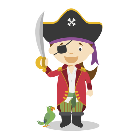 Cute cartoon vector illustration of a pirate. Women Professions Series