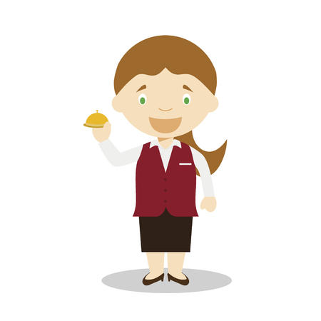 Cute cartoon vector illustration of a receptionist. Women Professions Series