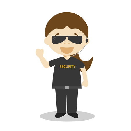 Cute cartoon vector illustration of a security guard. Women Professions Series