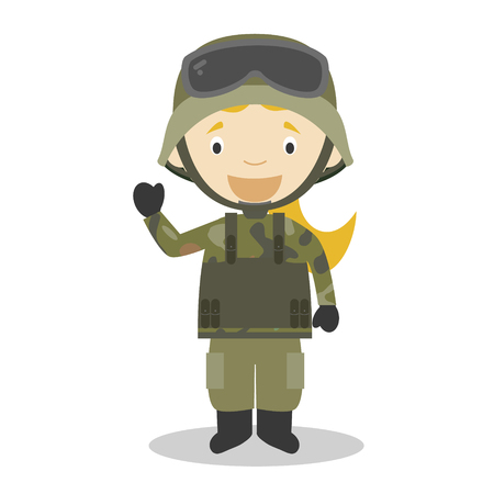 Cute cartoon vector illustration of a soldier. Women Professions Series