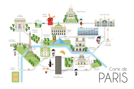 Cartoon vector map of the city of Paris, France. Travel illustration with landmarks and main attractions.