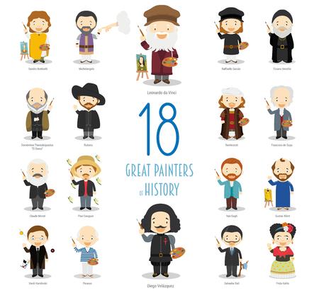 Collection de personnages vectoriels pour enfants : ensemble de 18 grands peintres d'histoire en style cartoon. Vecteurs