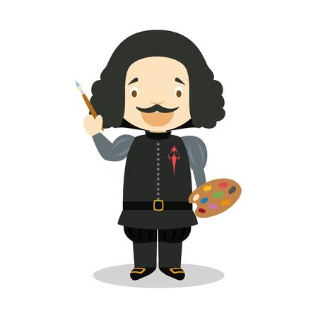 Diego Velaquez cartoon character. Vector Illustration. Kids History Collection.