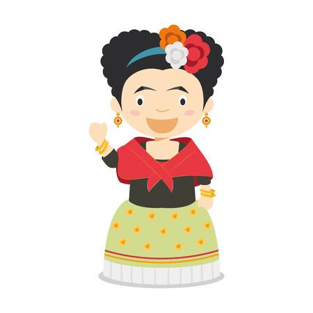 Frida Kahlo cartoon character. Vector Illustration. Kids History Collection.