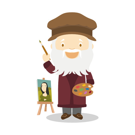 Leonardo da Vinci cartoon character. Vector Illustration. Kids History Collection. Vektorové ilustrace