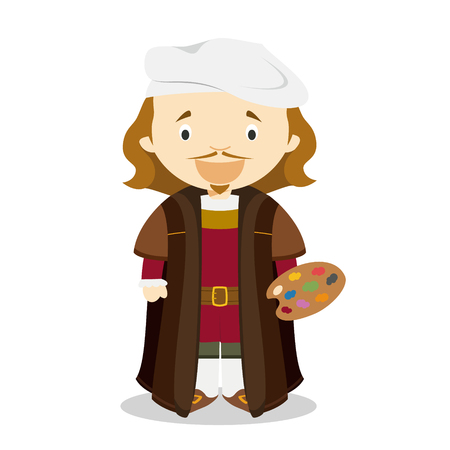 Rembrandt cartoon character. Vector Illustration. Kids History Collection. Illustration