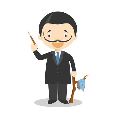 Salvador Dali cartoon character. Vector Illustration. Kids History Collection. Illustration
