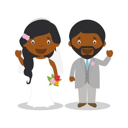 Black newlywed couple in cartoon style Vector illustration