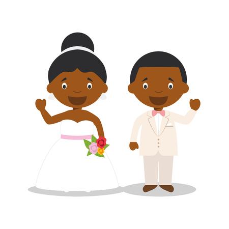 Black newlywed couple in cartoon style Vector illustration