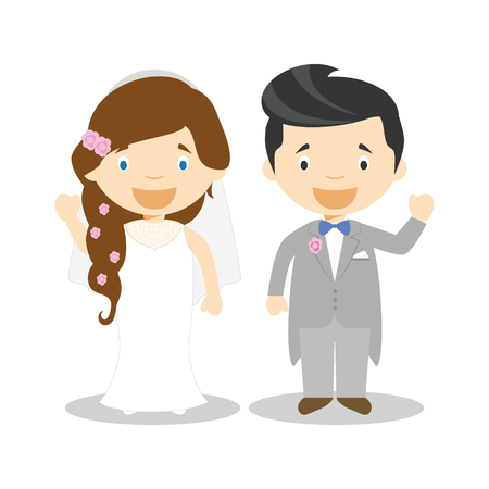 Caucasian newlywed couple in cartoon style Vector illustration