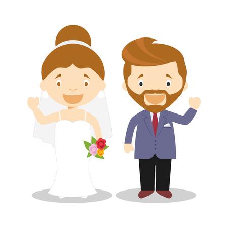 Caucasian newlywed couple in cartoon style Vector illustration Çizim