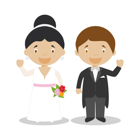 Mestizo newlywed couple in cartoon style Vector illustration