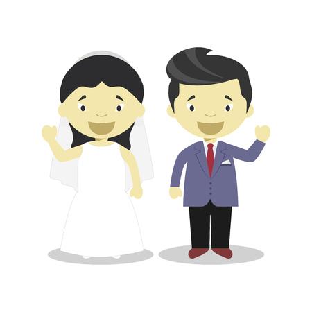 Oriental newlywed couple in cartoon style Vector illustration