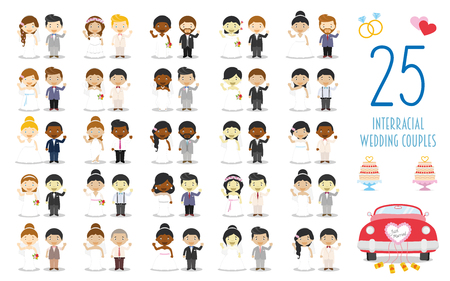Set of 25 interracial wedding couples and nuptial icons in cartoon style