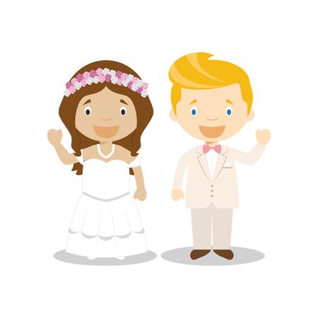 Mestizo bride and caucasian bridegroom Interracial newlywed couple in cartoon style Vector illustration