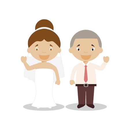 Mestizo bride and oriental bridegroom Interracial newlywed couple in cartoon style Vector illustration