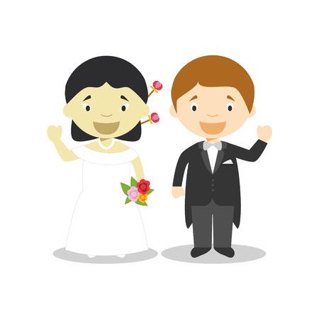 Oriental bride and caucasian bridegroom Interracial newlywed couple in cartoon style Vector illustration Çizim