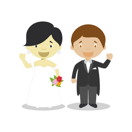 Oriental bride and mestizo bridegroom Interracial newlywed couple in cartoon style Vector illustration