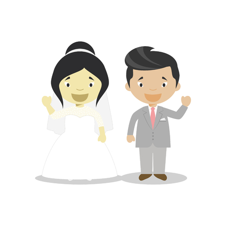 Oriental bride and oriental mestizo bridegroom Interracial newlywed couple in cartoon style Vector illustration Çizim