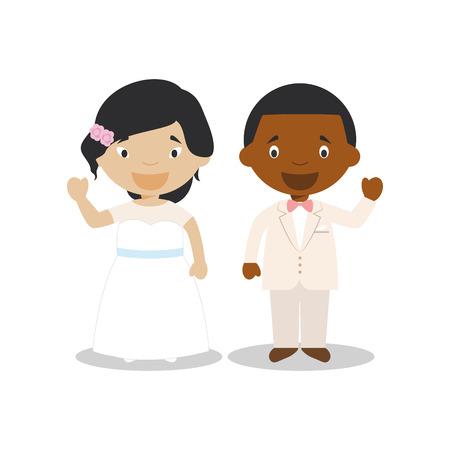 Oriental bride and black bridegroom Interracial newlywed couple in cartoon style Vector illustration