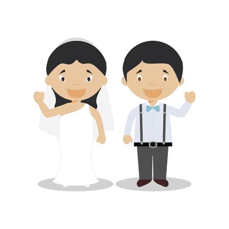 Oriental bride and mestizo bridegroom Interracial newlywed couple in cartoon style Vector illustration