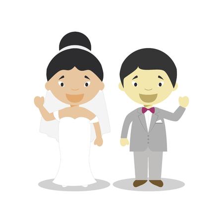 Oriental mestizo bride and oriental bridegroom Interracial newlywed couple in cartoon style Vector illustration