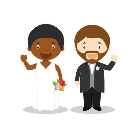 Black bride and caucasian bridegroom Interracial newlywed couple in cartoon style Vector illustration