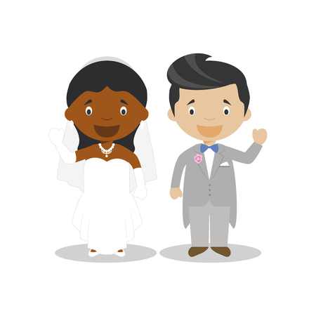 Black bride and mestizo bridegroom Interracial newlywed couple in cartoon style Vector illustration Çizim