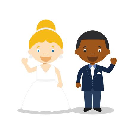 Caucasian bride and black bridegroom Interracial newlywed couple in cartoon style Vector illustration