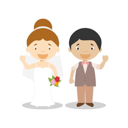 Caucasian bride and oriental bridegroom Interracial newlywed couple in cartoon style Vector illustration Çizim