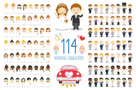 Set of 114 wedding characters and nuptial icons in cartoon style