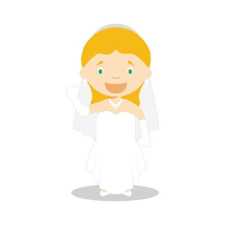 Caucasian bride wearing a wedding dress in cartoon style Vector Illustration