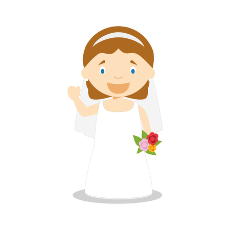 Caucasian bride wearing a wedding dress in cartoon style Vector Illustration
