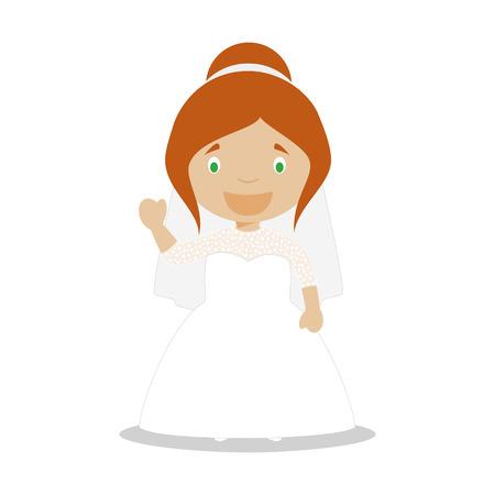 Mestizo bride wearing a wedding dress in cartoon style Vector Illustration