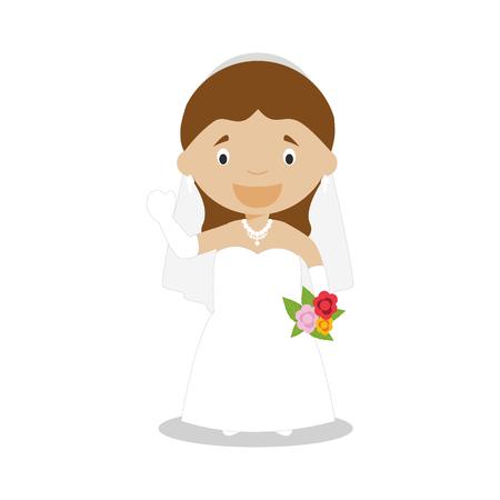 Mestizo bride wearing a wedding dress in cartoon style Vector Illustration Ilustração