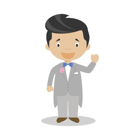 Mestizo bridegroom wearing a grey tuxedo in cartoon style Vector Illustration 矢量图像