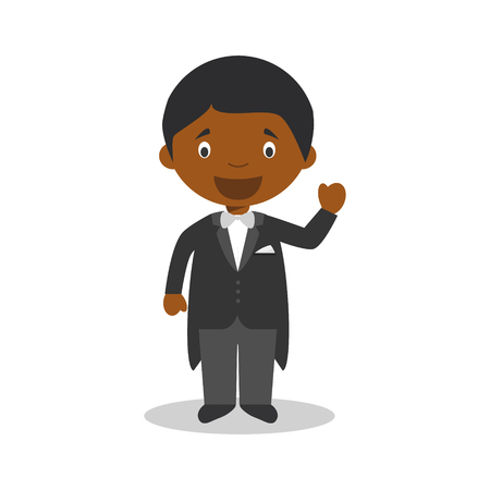 Black bridegroom wearing a black tuxedo in cartoon style Vector Illustration 矢量图像