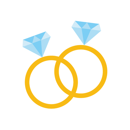 Pair of rings with diamond. Wedding icon concept Vector illustration