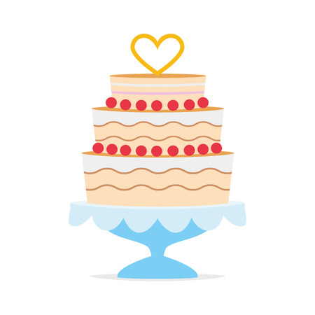 Wedding cake with a heart shape on top and a blue tray. Wedding icon concept Vector illustration