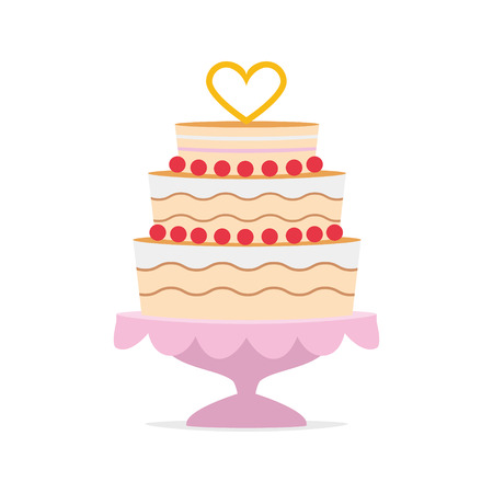 Wedding cake with a heart shape on top and a pink tray. Wedding icon concept Vector illustration
