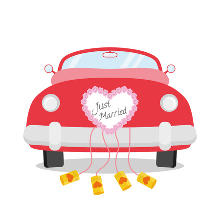 Red wedding car from behind with heart decoration and Just Married written on it. Wedding icon vector Vector illustration