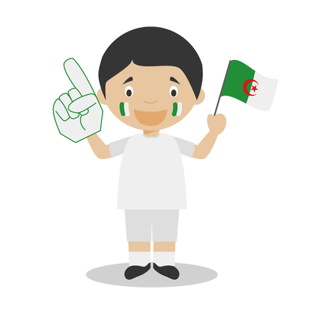 National sport team fan from Algeria with flag and glove Vector Illustration