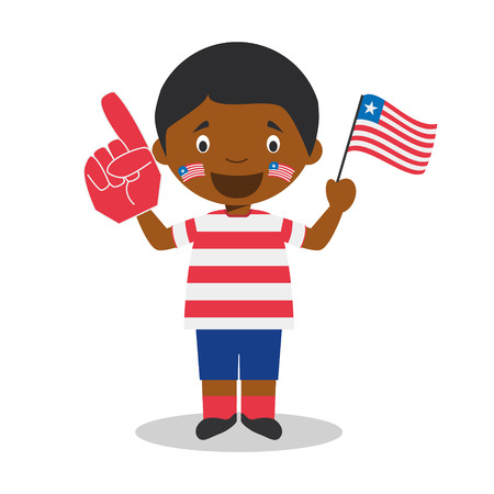 National sport team fan from Liberia with flag and glove Vector Illustration