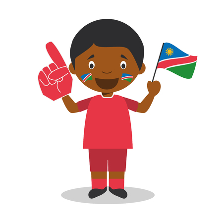 National sport team fan from Namibia with flag and glove Vector Illustration