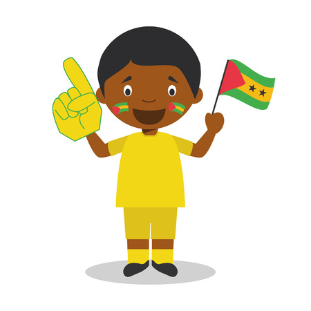 National sport team fan from Sao Tome and Principe with flag and glove Vector Illustration