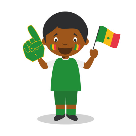 National sport team fan from Senegal with flag and glove Vector Illustration  イラスト・ベクター素材